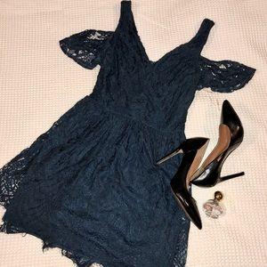 Holiday Dress Lace Ruffle Sleeve Mini Dress, Small